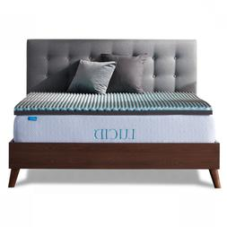 LUCID 2.5 Inch Bamboo Charcoal and Memory Foam Mattress Topp