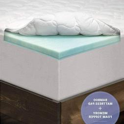 """eLuxurySupply 3"""" PillowTop Memory Foam Mattress Topper Queen"""