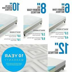 LUCID 6, 8, 10, and 12 Inch Gel Memory Foam Mattress - Twin