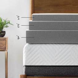 LUCID 2, 3, 4 Inch Bamboo Charcoal Memory Foam Mattress Topp