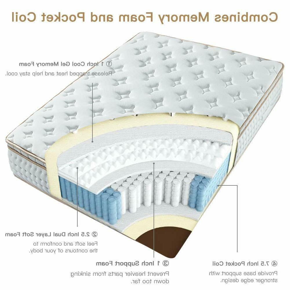 BedStory 10 Gel Infused Memory Foam Hybrid Twin Full Queen