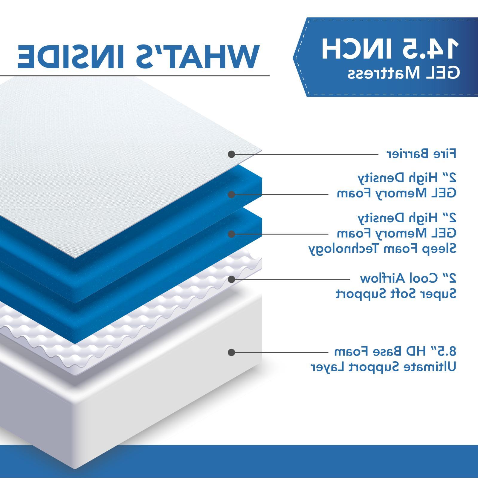 """DYNASTY 14.5"""" CoolBreeze GEL Memory Foam Mattress -CAL"""