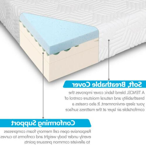 """Hot 14"""" Queen COOL MEDIUM-FIRM Memory Foam Mattress Bed with 2 Free Pillows"""