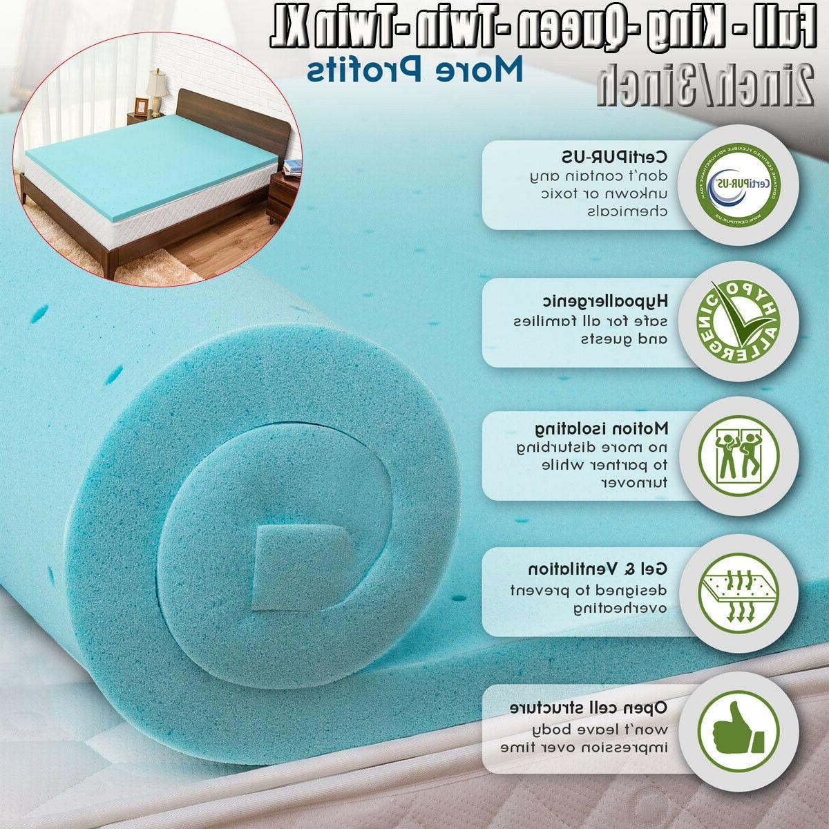 Cooling Gel Memory Foam Bed Mattress Pad Cover Topper Queen