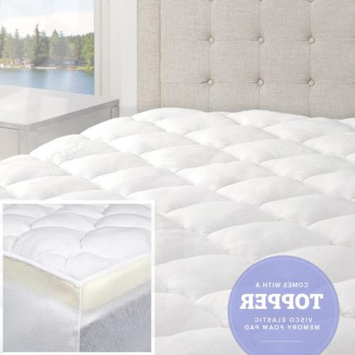 eLuxurySupply 3 Inch Pillow Top Memory Foam Mattress Topper