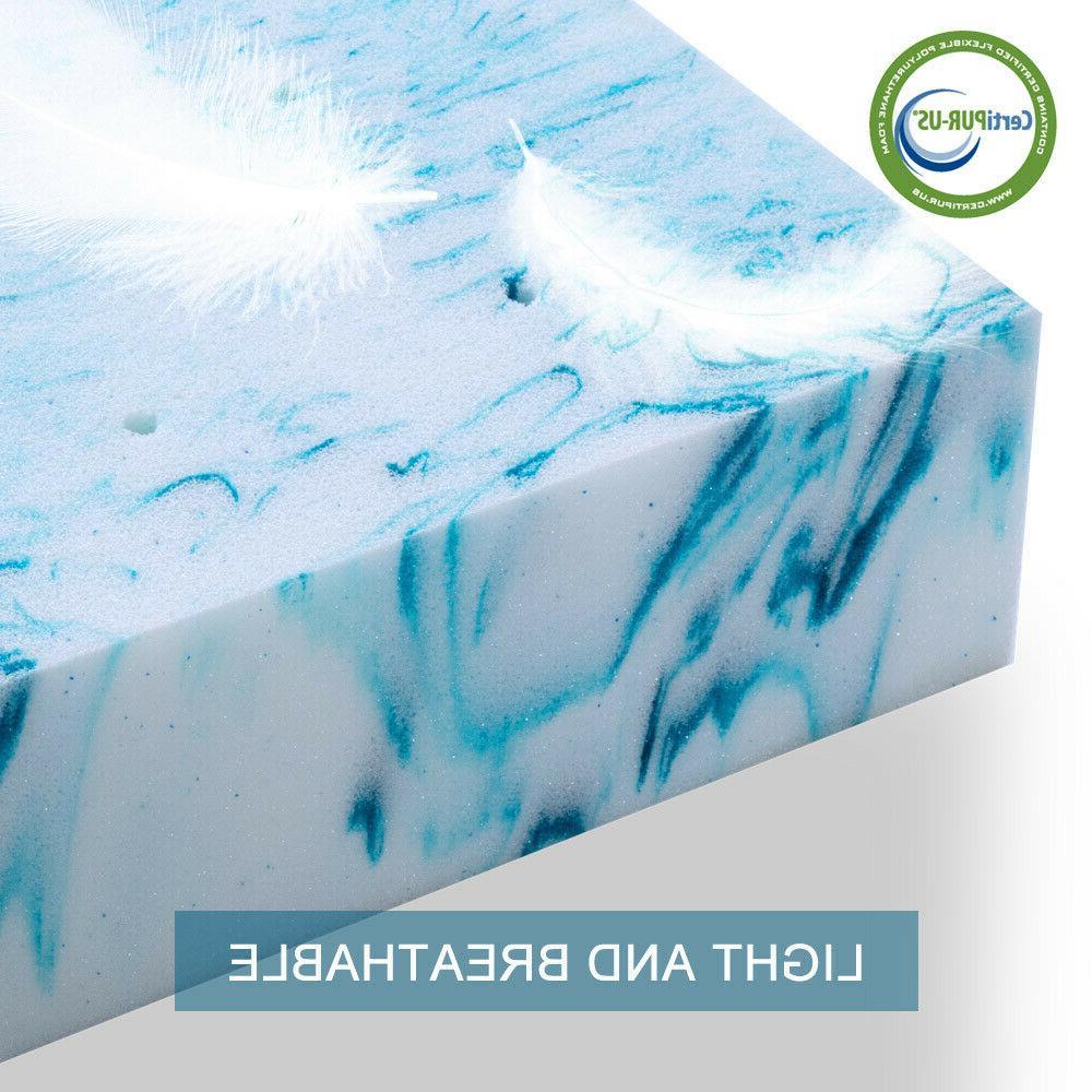 Blue Swirl 3''/4'' Memory Foam Mattress Topper Gel - Queen K