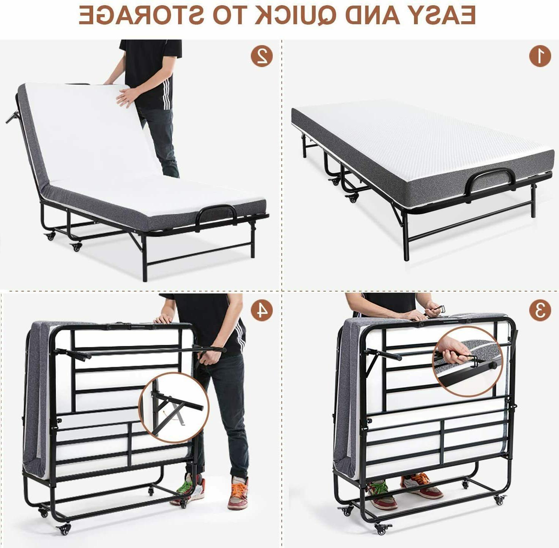 "Folding Bed 5 Inch Mattress Size Steel Frame 75x38"""