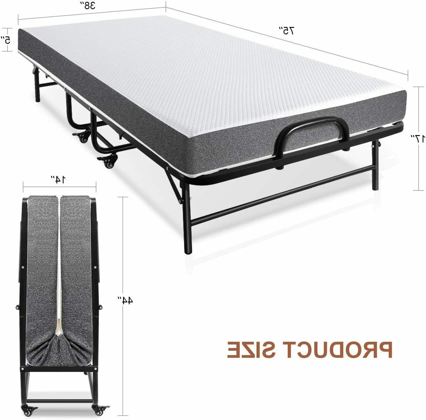 """Folding Bed 5 Mattress Foam Size Wheels Frame 75x38"""""""