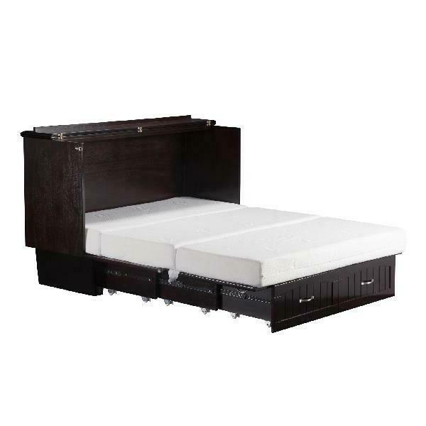 Space-Saving Queen Twin Storage Bed w/Folding Memory Foam