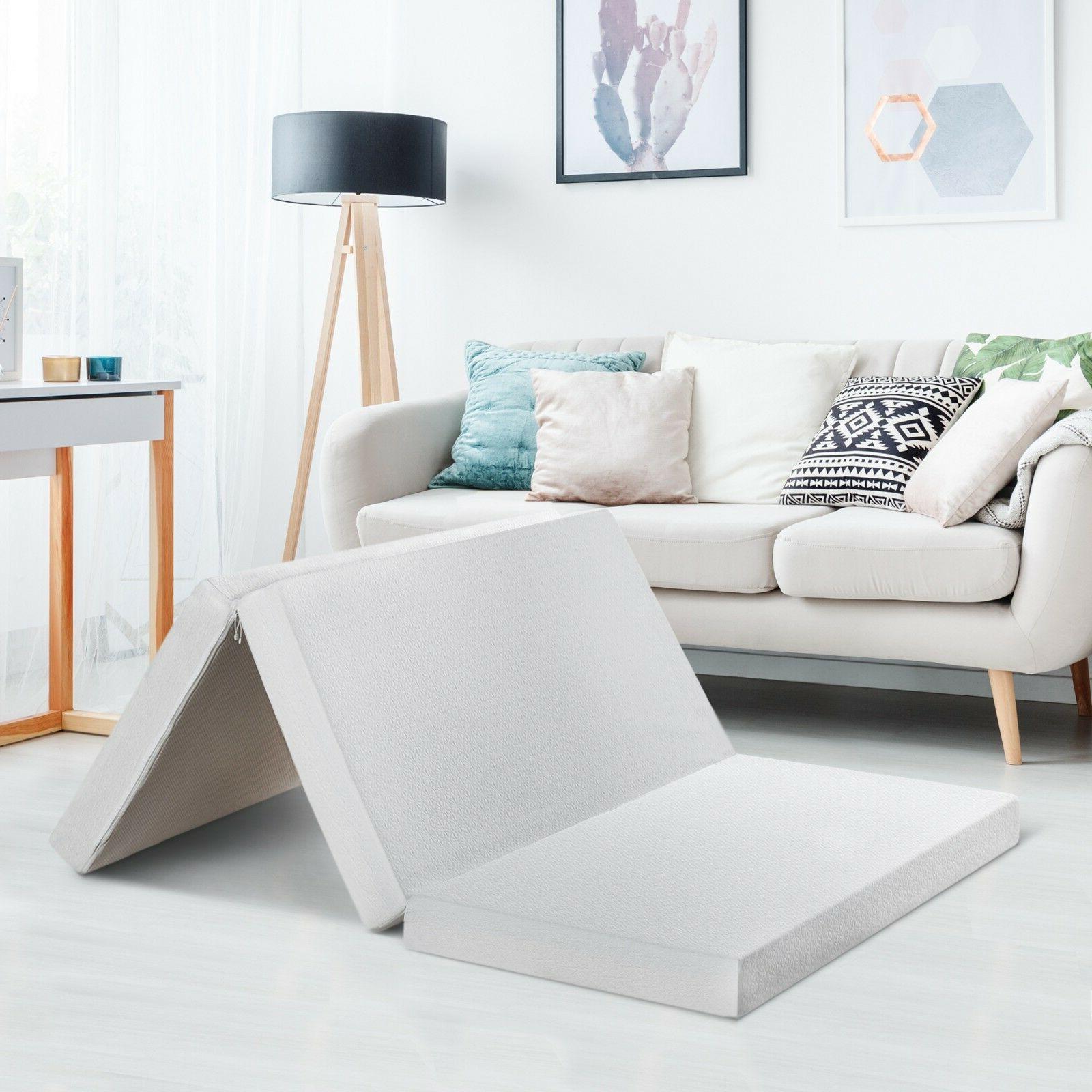tri folding portable rv memory foam mattress