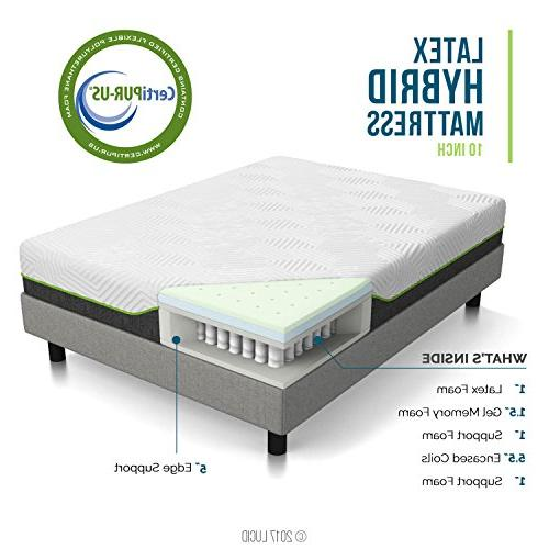 LUCID Latex - Cooling Memory Foam - Layer - - Support - Coils